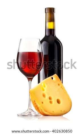 Red wine in glass and bottle isolated on white background