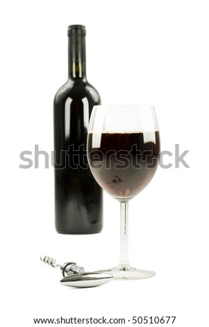 Red wine in glass goblet  on white