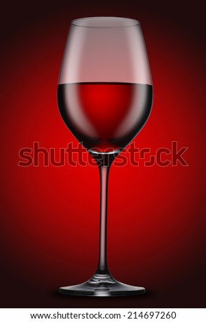 Red Wine in glass on red background