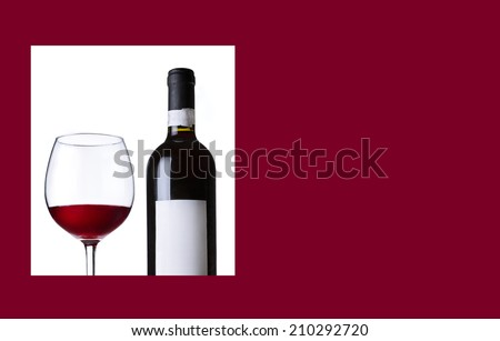Red wine in the glass and the bottle. Wine list,menu,and card design.  - stock photo