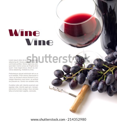 Red wine in wineglass with grapes isolated on white background. Winery background with Copy space - stock photo