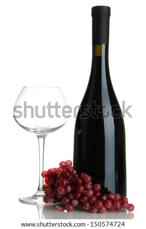 Red wine isolated on white - stock photo