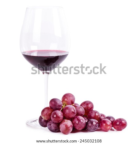 Red wine on a white background