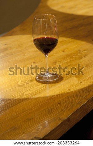 Red Wine On The Counter Of Bar