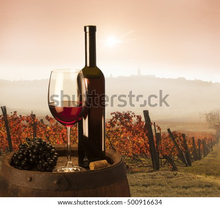red wine on vineyard background