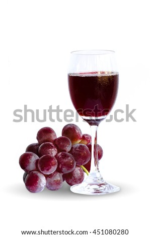 Red wine or grape juice in a glass isolated on white background