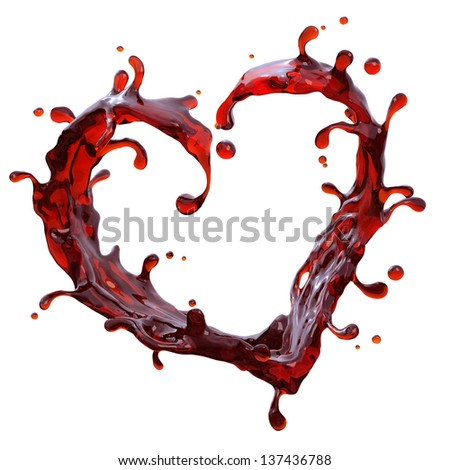 red wine or juice heart shape isolated on white background; abstract liquid splash