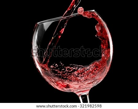 Red wine pour - stock photo