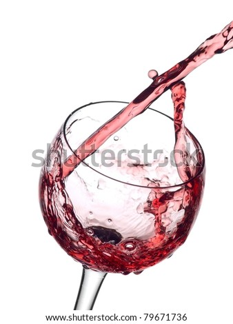 Red wine pouring and turn in a glass
