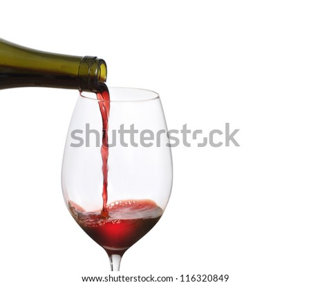 Red Wine Pouring  on a white background