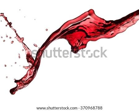 Red wine splash, close up - stock photo