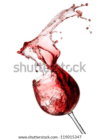Red wine splash from a glass