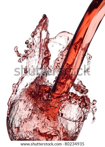 Red wine splash in a glass