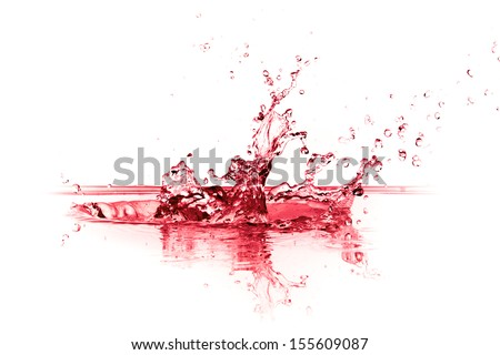 red wine splash isolated on white background