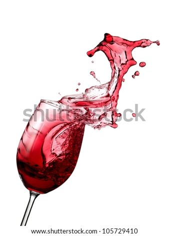 Red wine splash with drops