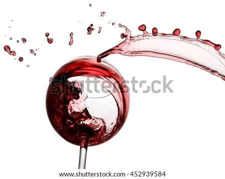 Red wine splash with drops, below view