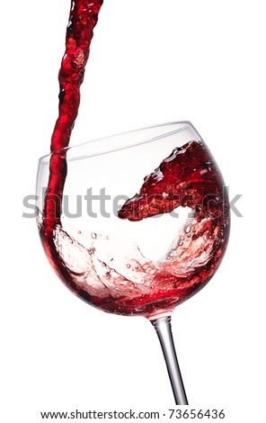 red wine splashing in a glass, isolated on white