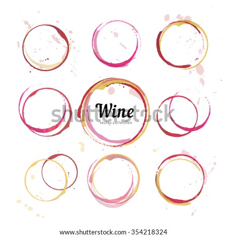 Red wine stains for wine card, stamp,  logo, list, menu. Set of isolated wine stain circles. Wine stain logo design. Wine bottom glass ring stains for logo design. Watercolor glass wine marks.