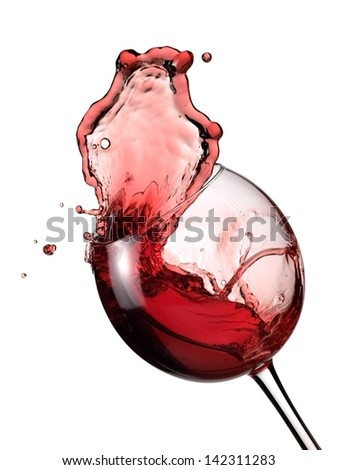 Red wine up from a glass