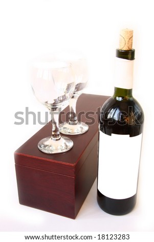 red wine with a gift box - stock photo
