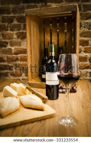 Red Wine with cheese - stock photo