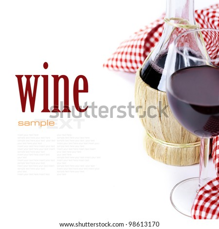 Red wine with napkin over white (with easy removable sample text) - stock photo