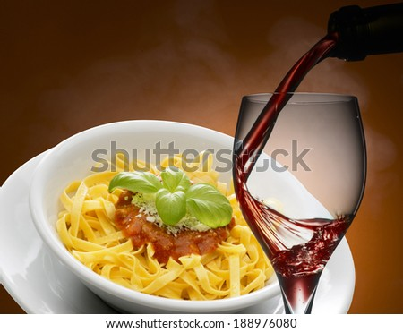 red wine with noodles - stock photo