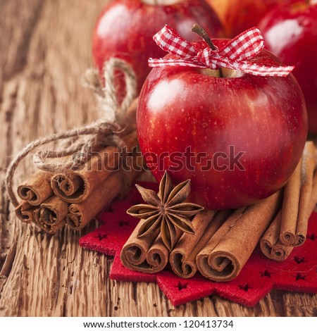 Red winter apples with cinnamon sticks and anise - stock photo