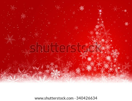 Red winter background with Christmas tree made of snowflakes. - stock photo