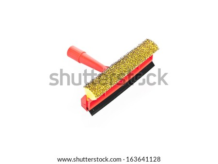 Red wiper for cleaning window isolated  - stock photo