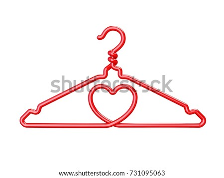 Red Wire Clothes Hangers Heart Shaped Stock Illustration 731095063 ...