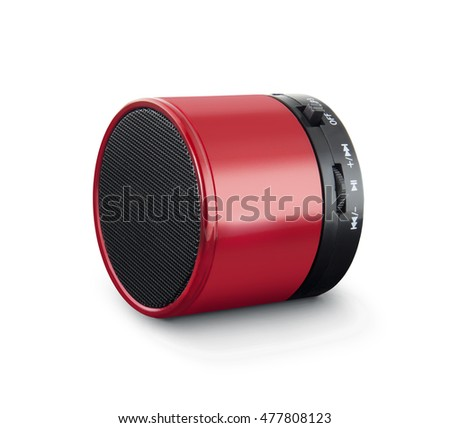 red wireless speaker isolated on white.