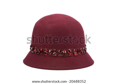 red woman's hat with stones