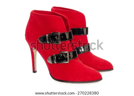 Red woman shoes isolated on a white background - stock photo
