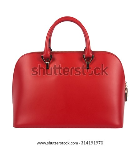 Red women bag isolated on white background - stock photo