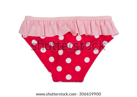 Red women's panties with polka dots. Isolate on white. - stock photo