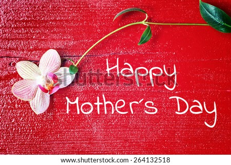 red wood background - happy mothers day - stock photo
