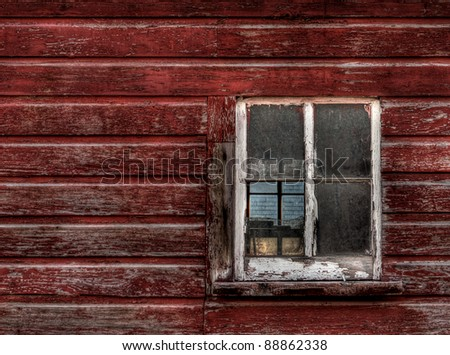 Red Wood Building - Broken Window (horizontal) - old red building with 4-pane window, one of which is broken - can see through window to 4-pane window on other side of building