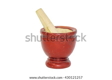 Red wood mortar on white background.