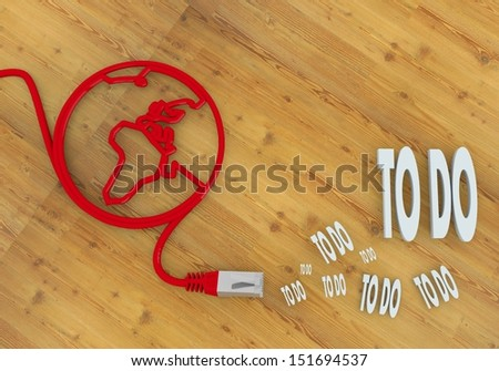 Red  wooden doing 3d graphic with connected to do symbol on network to home office desk
