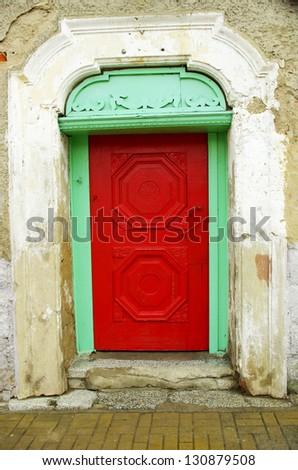 red wooden door - stock photo