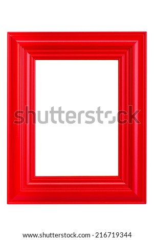 Red wooden picture frame - isolated on white background - stock photo
