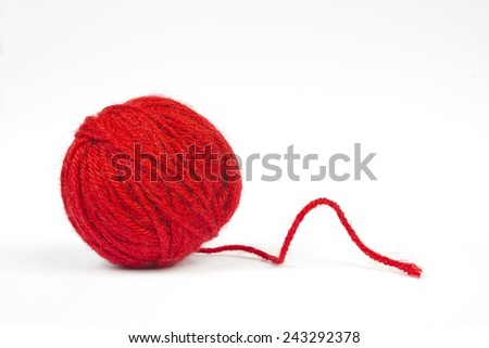 Red wool ball - stock photo