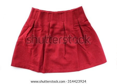 Red woolen pleated skirt on white background.