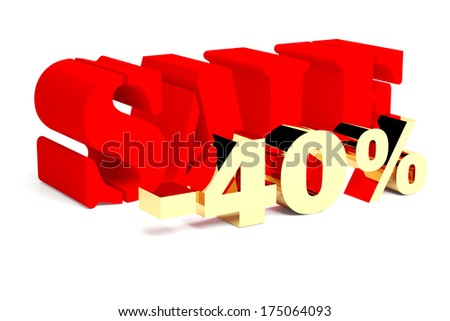 Red word Sale and golden 40%. 3d illustration  on the white background.