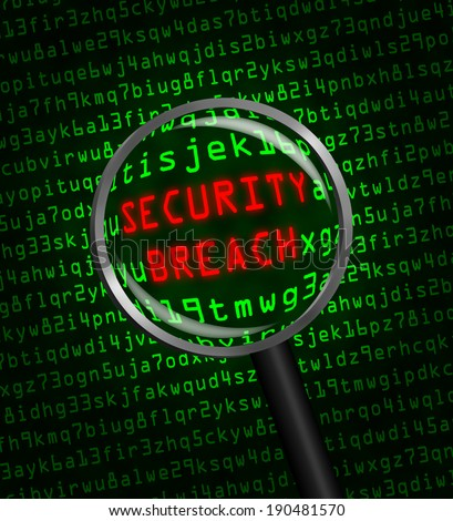 "Red word ""SECURITY BREACH"" revealed revealed in green computer machine code through a magnifying glass. - stock photo"