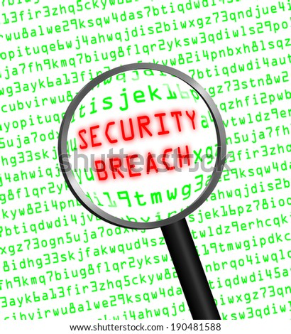 "Red word ""SECURITY BREACH"" revealed revealed in green computer machine code through a magnifying glass.White background. - stock photo"