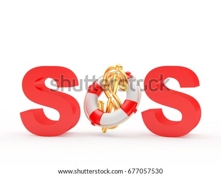 Red Word Sos Dollar Sign Lifebuoy Stock Illustration 677057530
