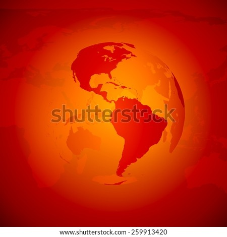 Red World Globe. North and south America. - stock photo