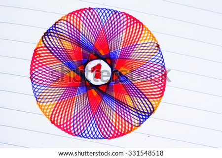 Red 1:Write number 1 on center after draw pattern with colorful pen on normal white paper. - stock photo